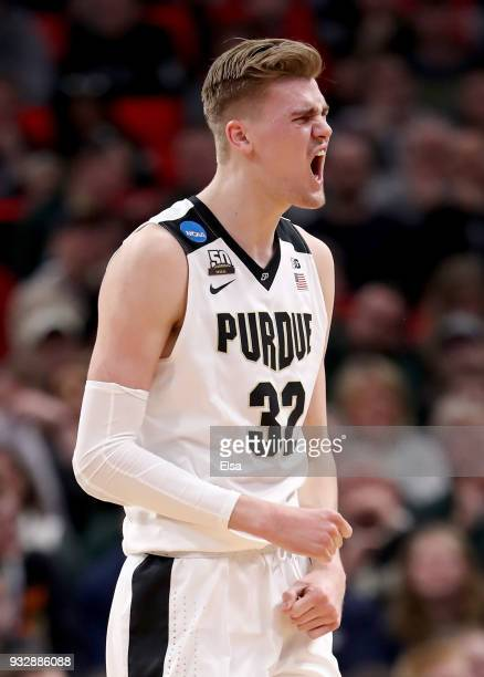 Matt Haarms of the Purdue Boilermakers reacts against the Cal State Fullerton Titans during the first half of the game in the first round of the 2018...