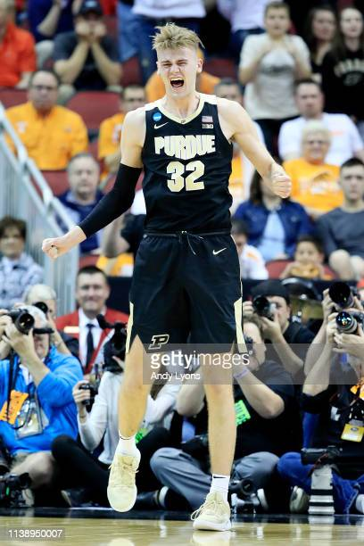 Matt Haarms of the Purdue Boilermakers reacts against the Tennessee Volunteers during the second half of the 2019 NCAA Men's Basketball Tournament...