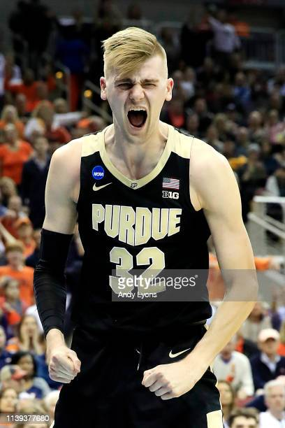 Matt Haarms of the Purdue Boilermakers reacts against the Virginia Cavaliers during the first half of the 2019 NCAA Men's Basketball Tournament South...