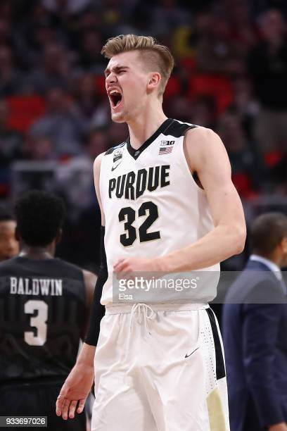 Matt Haarms of the Purdue Boilermakers reacts during the second half against the Butler Bulldogs in the second round of the 2018 NCAA Men's...