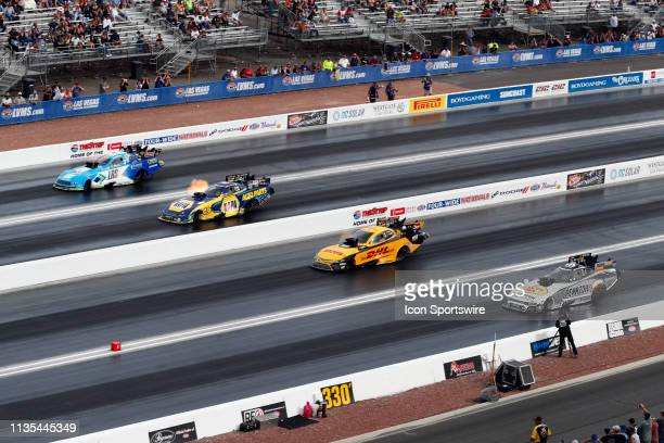 Matt Hagan Don Schumacher Racing Dodge Charger SRT Hellcat NHRA Funny Car JR Todd Kalitta Motorsports Toyota Camry NHRA Funny Car Ron Capps Don...