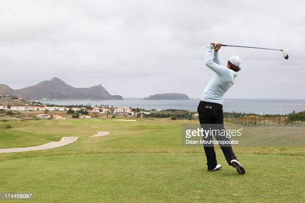 Matt Haines of England hits his tee shot on the 4th hole during day two of the Madeira Islands Open on May 20 2011 in Porto Santo Island Portugal