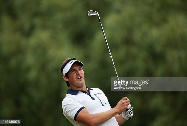 Matt Haines of England in action during the third round of the English Challenge at Stoke by Nayland Golf Hotel and Spa on July 28 2012 in Stoke by...