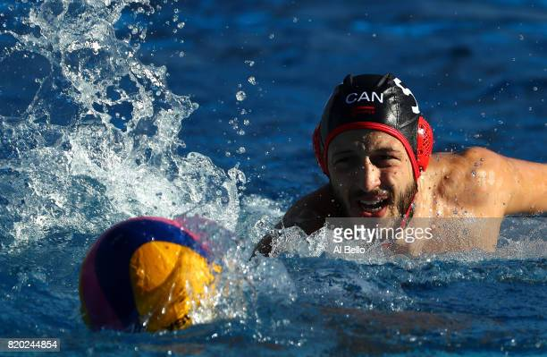Matt Halajian of Canada in action during the Men's Water Polo Group A preliminary round match between Brazil and Canada on day eight of the Budapest...