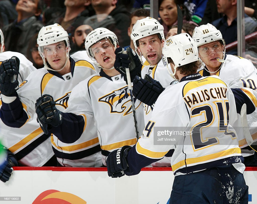 Matt Halischuk #24 of the Nashville Predators is congratulated after scoring against the Vancouver Canucks during their NHL game at Rogers Arena March 14, 2013 in Vancouver, British Columbia, Canada.