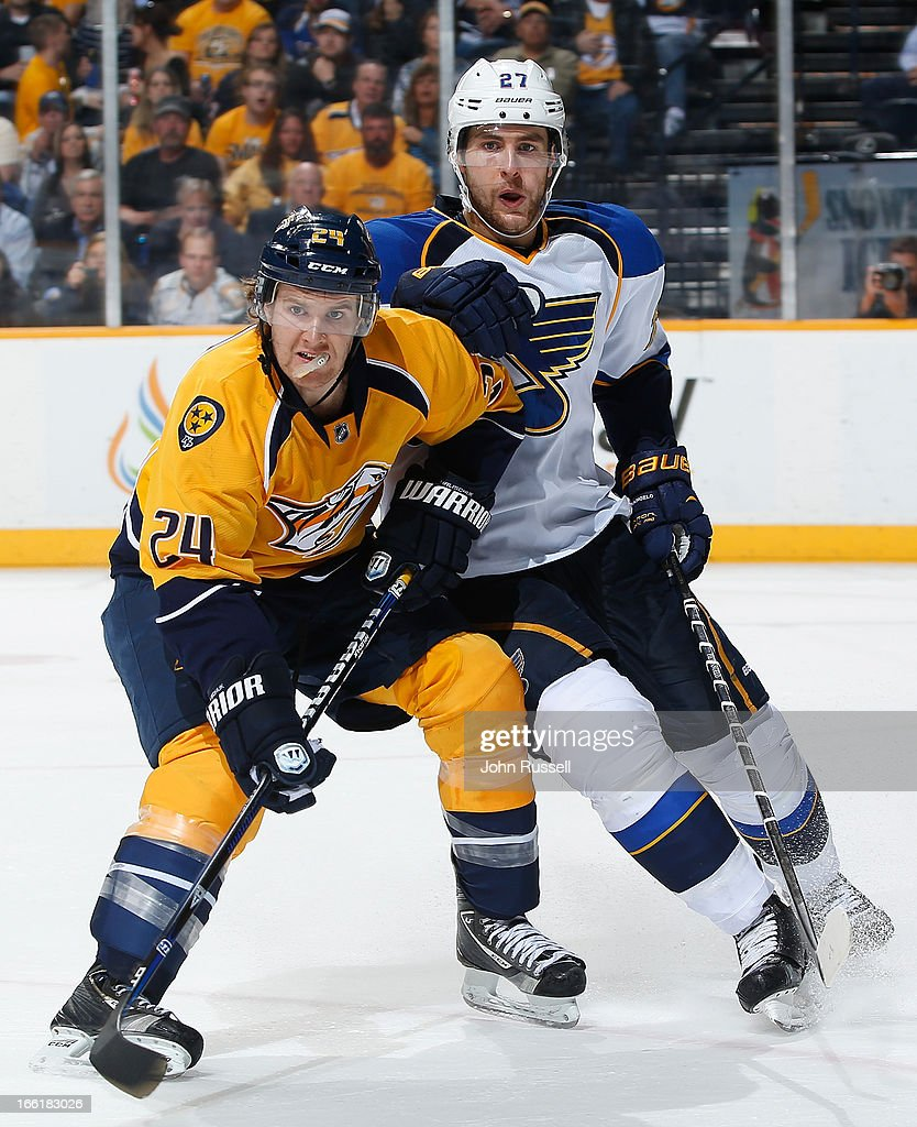 Matt Halischuk #24 of the Nashville Predators skates against Alex Pietrangelo #27 of the St. Louis Blues during an NHL game at the Bridgestone Arena on April 9, 2013 in Nashville, Tennessee.