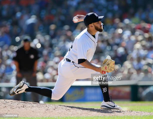 Matt Hall of the Detroit Tigers pitches against the Kansas City Royals during the eighth inning at Comerica Park on September 23 2018 in Detroit...
