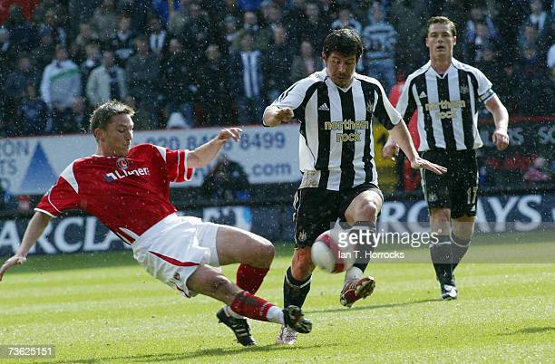 Matt Halland challenges Emre skips a tackle during the Barclays Premiership match between Charlton Athletic and Newcastle United at The Valley on...