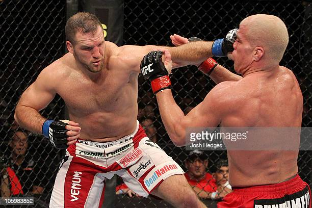 Matt Hamill connects with a left against Tito Ortiz during the light heavyweight bout during UFC 121 on October 23, 2010 in Anaheim, California.