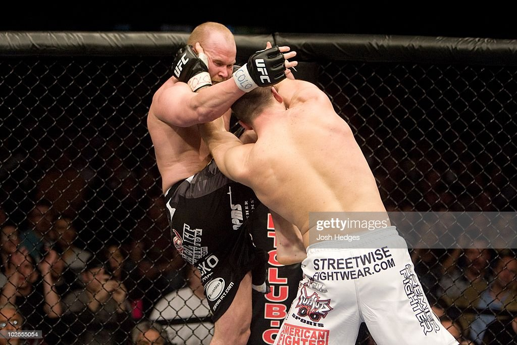 Matt Hamill (white shorts) def. Tim Boetsch (black/camo shorts) - TKO - 1:25 round 2 during the UFC Fight Night 13 at the Broomfield Event Center on April 2, 2008 in Broomfield, Colorado.