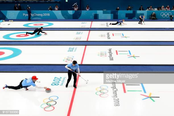 Matt Hamilton and Becca Hamilton of the United States of America train before the Curling Mixed Doubles Round Robin Session 2 during the PyeongChang...