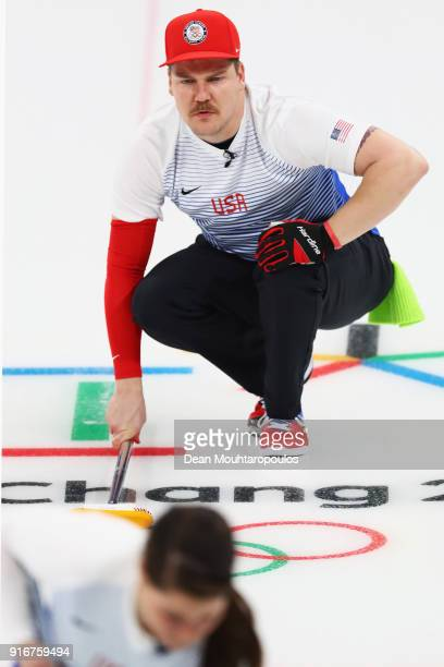 Matt Hamilton and Becca Hamilton of the USA compete during the Curling Mixed Doubles on day two of the PyeongChang 2018 Winter Olympic Games at...