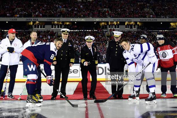 Matt Hamilton and Tyler George of the gold medalwinning 2018 US Olympic Curling Team Commander of the Royal Canadian Navy Vice Admiral Ron Lloyd US...
