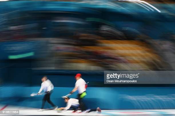 Matt Hamilton George Tyler John Shuster and John Landsteiner of the USA compete in the Curling Men's Round Robin Session 4 held at Gangneung Curling...