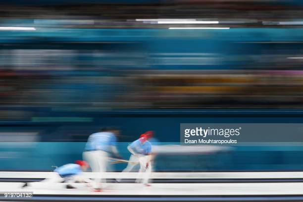 Matt Hamilton, George Tyler, John Shuster and John Landsteiner of the USA compete during the Curling round robin session 7 on day nine of the...