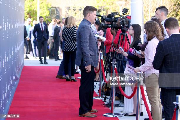 Matt Hamilton gives an interview during the Team USA Awards at the Duke Ellington School of the Arts on April 26 2018 in Washington DC