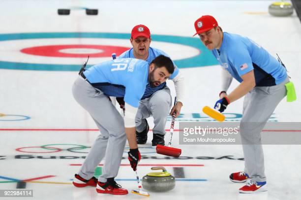 Matt Hamilton John Shuster John Landsteiner of USA compete in the Curling Men's Semifinal against Canada on day thirteen of the PyeongChang 2018...