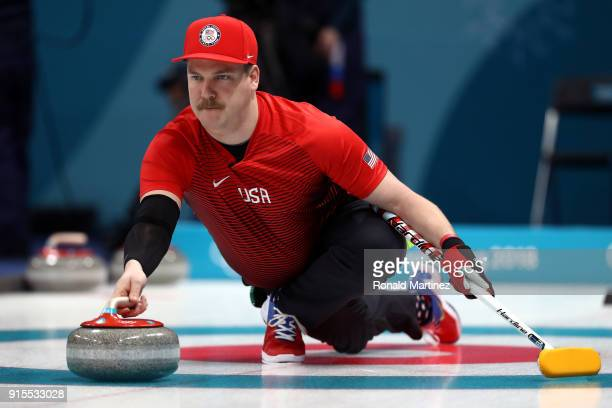 Matt Hamilton of the United States delivers a stone against Olympic Athletes from Russia in the Curling Mixed Doubles Round Robin Session 1 during...