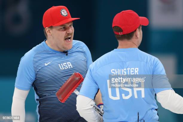 Matt Hamilton of the United States reacts during the game against Sweden during the Curling Men's Gold Medal game on day fifteen of the PyeongChang...