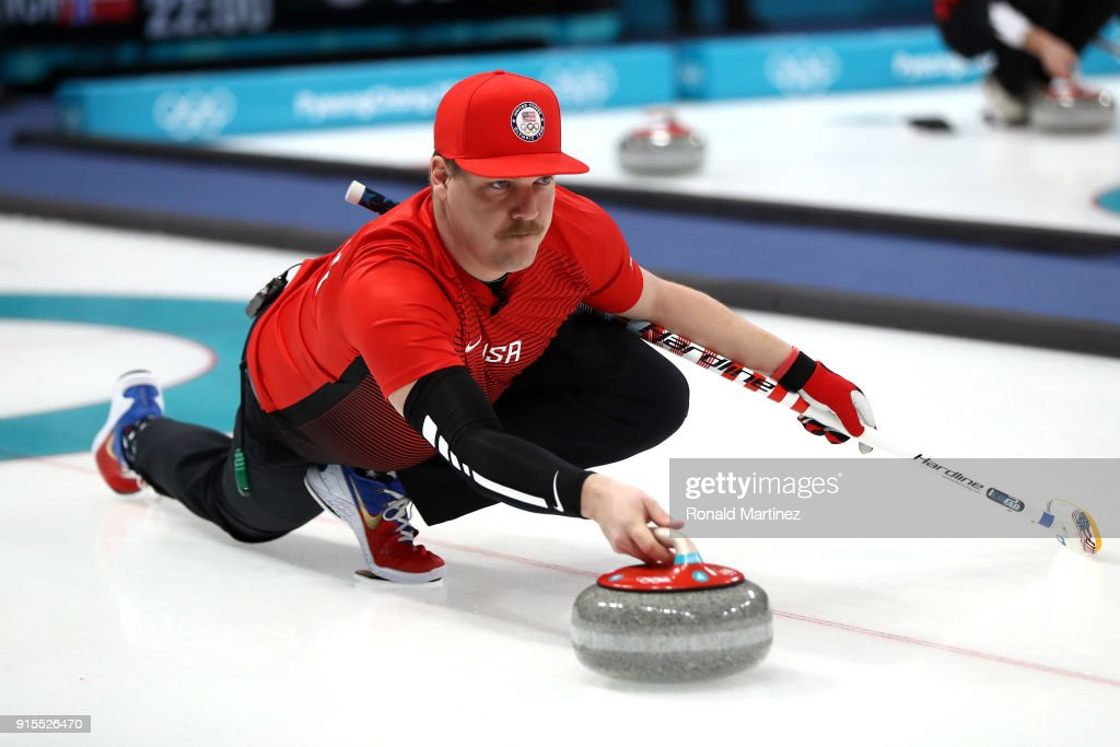 Matt Hamilton of the United States slides a stone in the Curling Mixed Doubles Round Robin Session 1 during the PyeongChang 2018 Winter Olympic Games at Gangneung Curling Centre on February 8, 2018 in Pyeongchang-gun, South Korea.