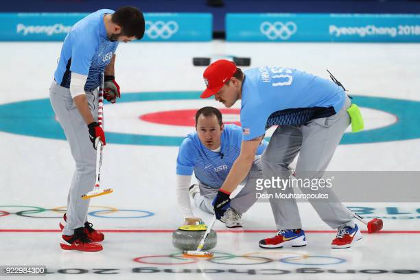 Matt Hamilton Tyler George John Landsteiner of USA compete in the Curling Men's Semifinal against Canada on day thirteen of the PyeongChang 2018...