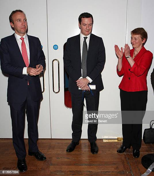 Matt Hancock George Osborne and Helen Sharman attend the opening of the Science Museum's new interactive gallery 'Wonderlab' on October 11 2016 in...