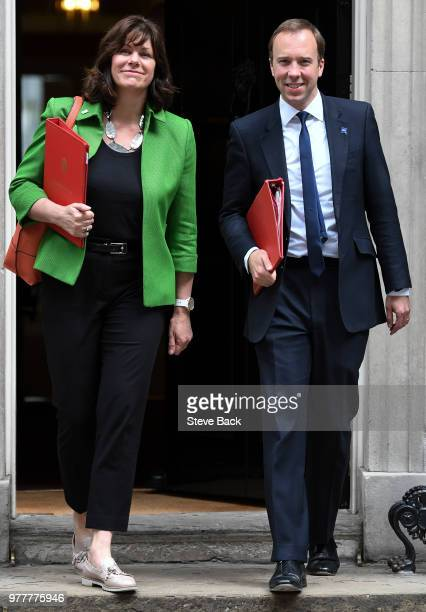 Matt Hancock MP Secretary of State for Digital Culture Media and Sport leaving No10 Downing with Claire Perry MP Minister of State for Energy and...