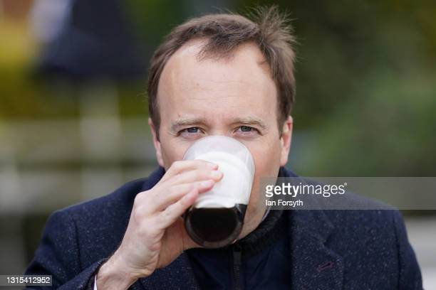 Matt Hancock MP, Secretary of State for Health, drinks a pint as he visits the Rudds Arms pub for a photocall after campaigning in Middlesbrough on...