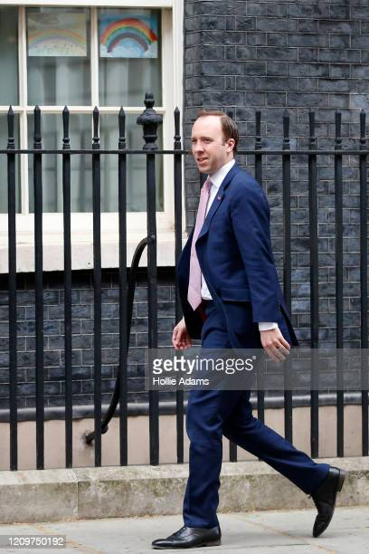 Matt Hancock Secretary of State for Health and Social Care arrives at 10 Downing Street for the daily Coronavirus briefing on April 12 2020 in London...
