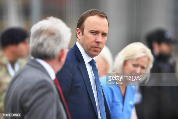 Matt Hancock the UK Secretary of State for Health and Social Care attends the opening of the NHS Nightingale Hospital at ExCel on April 3 2020 in...