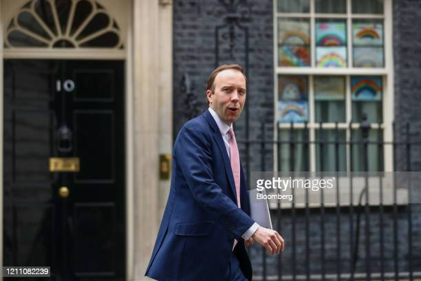 Matt Hancock UK health secretary departs from number 10 Downing Street in London UK on Monday April 27 2020 UK Prime Minister Boris Johnson is back...