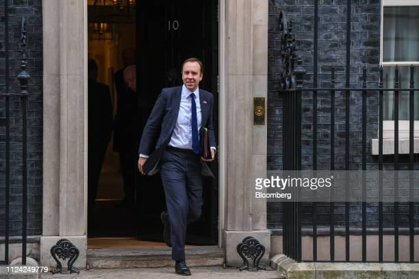 Matt Hancock UK health secretary departs number 10 Downing Street following a weekly meeting of Cabinet minsters in London UK on Tuesday Feb 12 2019...