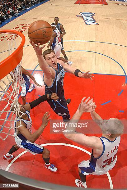 Matt Harpring of the Utah Jazz goes up for the shot during the NBA game against the Los Angeles Clippers at Staples Center on January 21 2008 in Los...