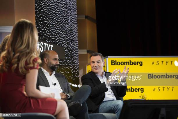 Matt Harris managing director of Bain Capital Venture Partners LLC right speaks during the Sooner Than You Think conference in the Brooklyn borough...