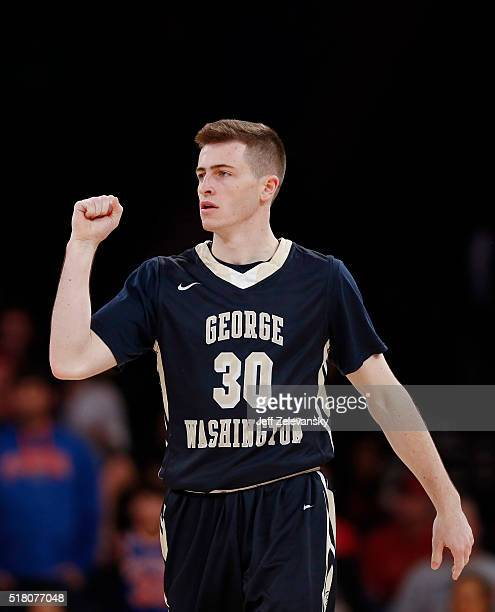 Matt Hart of the George Washington Colonials reacts after win over San Diego State Aztecs during their NIT Championship Semifinal game at Madison...