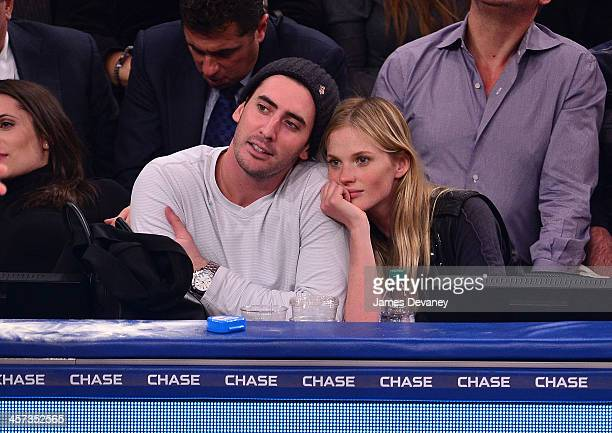 Matt Harvey and Anne V attend the Washington Wizards vs New York Knicks game at Madison Square Garden on December 16 2013 in New York City