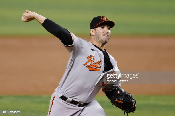 Matt Harvey of the Baltimore Orioles delivers a pitch against the Miami Marlins during the second inning of the MLB game at loanDepot park on April...