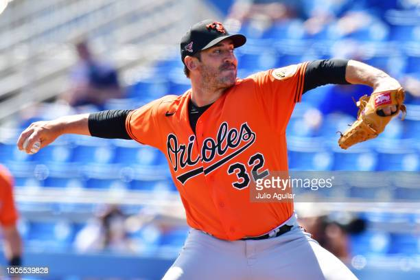 Matt Harvey of the Baltimore Orioles delivers a pitch in the first inning of a spring training game against the Toronto Blue Jays on March 05, 2021...