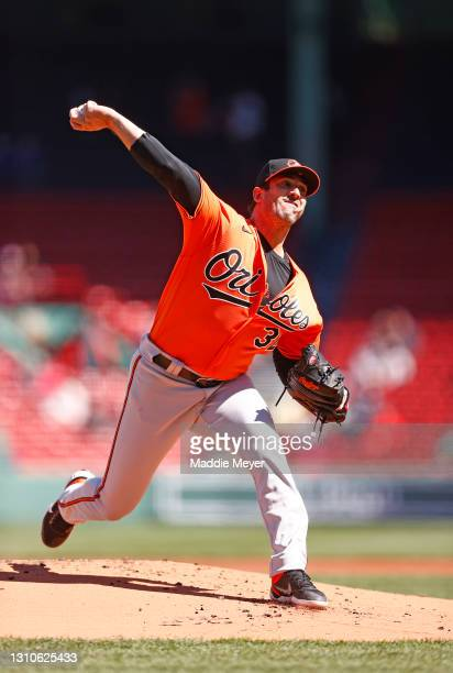 Matt Harvey of the Baltimore Orioles pitches against the Boston Red Sox during the first inning at Fenway Park on April 03, 2021 in Boston,...