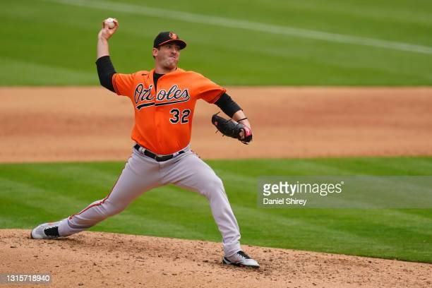 Matt Harvey of the Baltimore Orioles pitches during the fifth inning against the Oakland Athletics at RingCentral Coliseum on May 01, 2021 in...