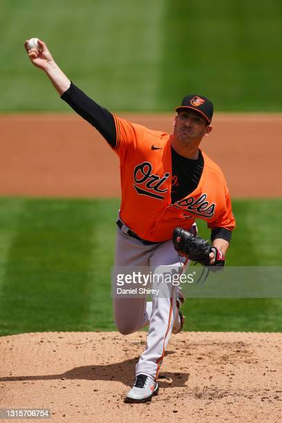 Matt Harvey of the Baltimore Orioles pitches during the first inning against the Oakland Athletics at RingCentral Coliseum on May 01, 2021 in...