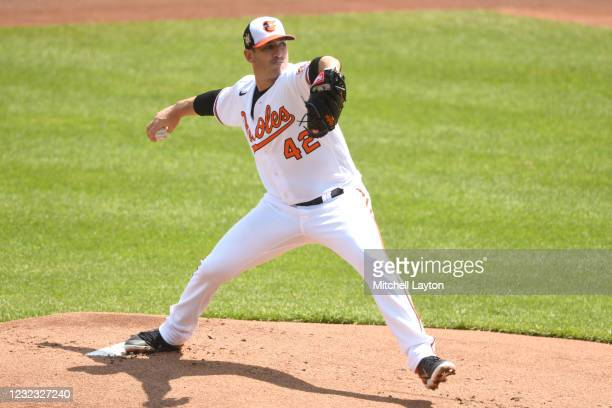Matt Harvey of the Baltimore Orioles pitches in the first inning during game one of a doubleheader against the Seattle Mariners at Oriole Park at...