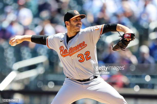 Matt Harvey of the Baltimore Orioles pitches in the first inning against the New York Mets at Citi Field on May 12, 2021 in New York City.