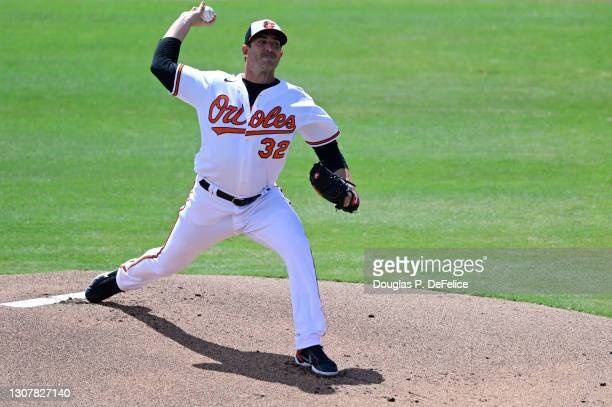 Matt Harvey of the Baltimore Orioles throws a pitch during the first inning against the Pittsburgh Pirates during a spring training game at Ed Smith...