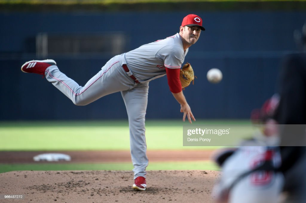 Matt Harvey #32 of the Cincinnati Reds pitches during the first inning of a baseball game against the San Diego Padres at PETCO Park on June 2, 2018 in San Diego, California.