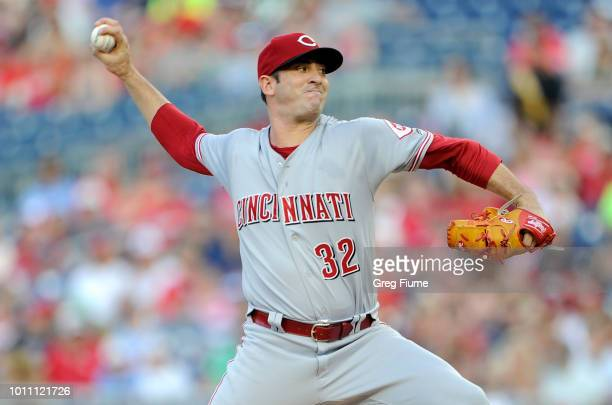 Matt Harvey of the Cincinnati Reds pitches in the first inning against the Washington Nationals during game two of a doubleheader at Nationals Park...