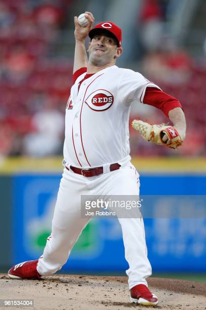 Matt Harvey of the Cincinnati Reds pitches in the first inning against the Pittsburgh Pirates at Great American Ball Park on May 22 2018 in...
