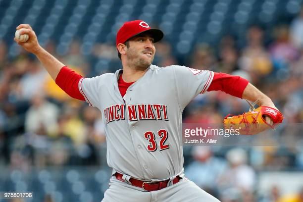 Matt Harvey of the Cincinnati Reds pitches in the first inning against the Pittsburgh Pirates at PNC Park on June 15 2018 in Pittsburgh Pennsylvania