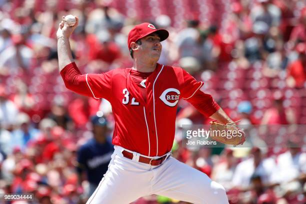 Matt Harvey of the Cincinnati Reds pitches in the first inning against the Milwaukee Brewers at Great American Ball Park on July 1 2018 in Cincinnati...