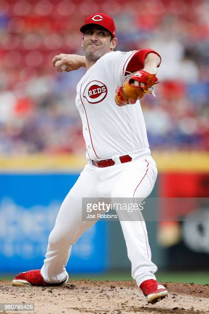 Matt Harvey of the Cincinnati Reds pitches in the second inning against the Chicago Cubs at Great American Ball Park on June 21 2018 in Cincinnati...